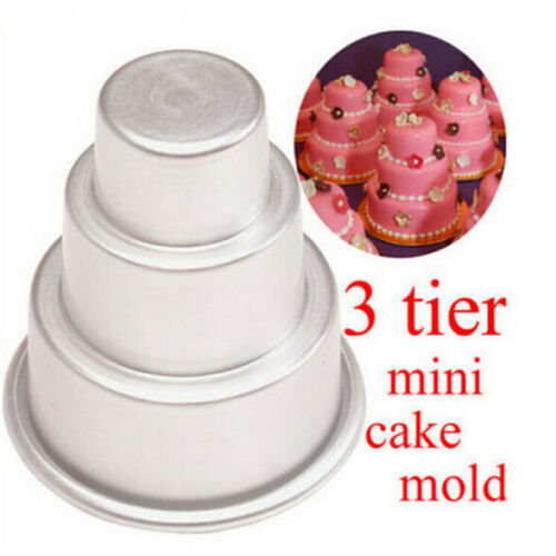 DIY Mini 3-Tier Cupcake Pudding Chocolate Cake Mold Baking Pan Mould Party BR