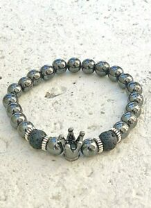 Unisex Bracelet Natural Gemstone Black Hematite Bead Healing Reiki UKseler