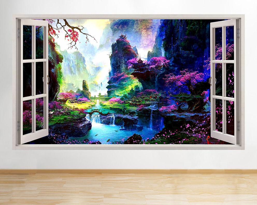 C127 flor de cerezo río escénico pared pegatina pared vinilo 3d habitación niños