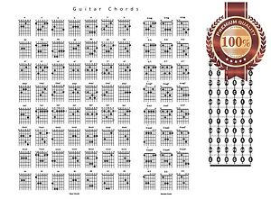 new guitar chords chord chart notes guide help learn study print premium poster ebay. Black Bedroom Furniture Sets. Home Design Ideas