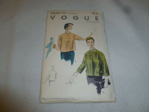 VINTAGE VOGUE PATTERN 803850C SIZE 16 34 BUST WOMANS JACKET 1953 CONDE NAST >>