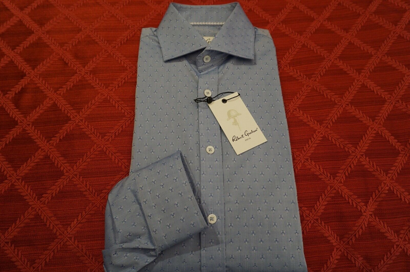 ROBERT GRAHAM BRUCE SHIRT LONG SLEEVE 39 15.5 LIGHT blueE RGD01571 BUTTON -DOWN