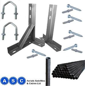 18-034-T-and-K-Galvanised-Aerial-or-Satellite-Brackets-and-8ft-Aerial-Pole
