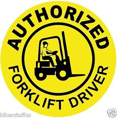 AUTHORIZED FORKLIFT DRIVER HARD HAT STICKER (LOT OF 3) BLACK ON YELLOW