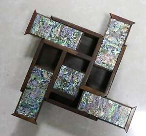 Collect-Exquisite-Rare-Boxwood-Inlay-Conch-Hand-Carve-Delicate-Noble-Jiugong-Box
