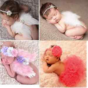 Baby Girls Newborn Angel Wings Headband+Tutu Skirt Costume Photo ... 5cd0b4acefe
