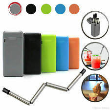 Reusable Stainless Steel Soft Tip Collapsible Drinking Straw + Travel Case