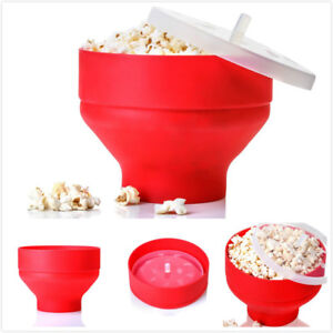 New-Silicone-Microwave-Popcorn-Popper-Maker-Collapsible-Hot-Air-Machine-Bowl-Red