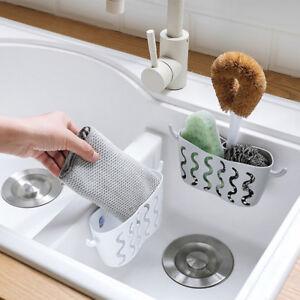 Details about KE_ Kitchen Sink Sponge Holder Bathroom Suction Cup Wall  Hanging Strainer Rack