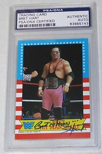 Bret-Hart-Signed-1987-Topps-WWF-Rookie-Card-1-PSA-DNA-COA-RC-WWE-Star-Autograph