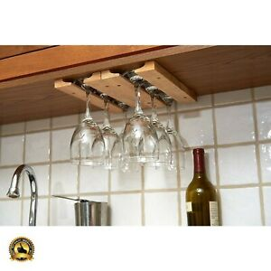 Wine Glass Holder Wood Rack Hanging Wall Mount Under ...