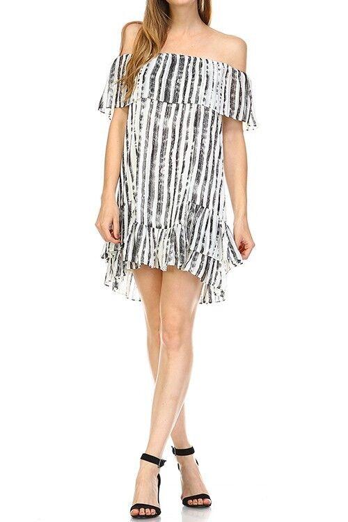 Collective Concepts Distressed Stripe Off Shoulder Shoulder Shoulder Dress. Style  DS6020-01 c933ed
