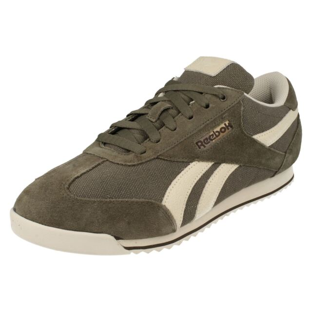 Reebok  Royal Rayen  Stone Paperwhite Brown Lace Up Leather Textile Trainers a5400e966