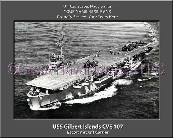 USS Gilbert Islands CVE 107 Personalized Canvas Ship Photo Print Navy Veteran