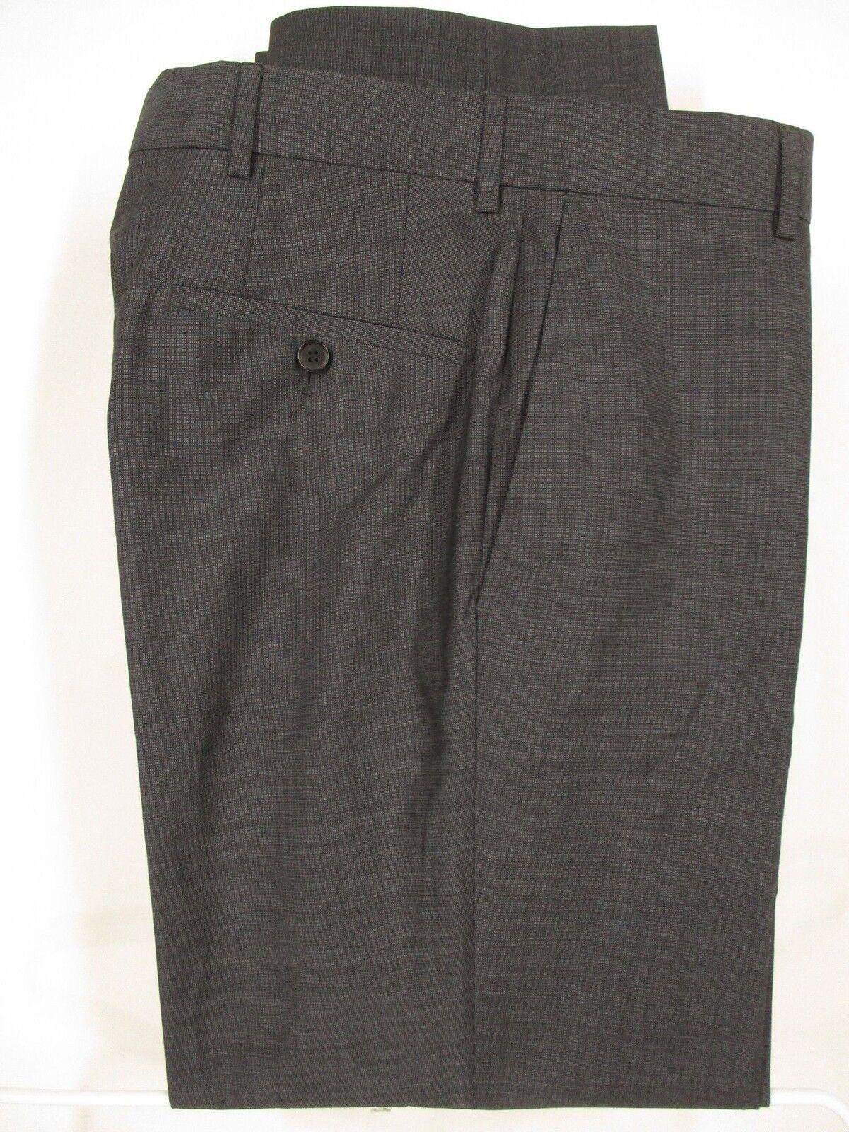 Hugo Boss Jeffrey Mens Grey Flat Front Wool Dress Pants 30R 32x29