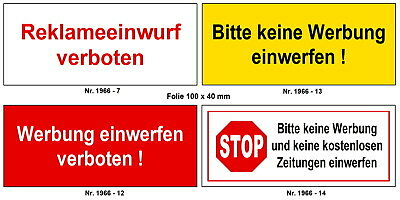 Original Keine Werbung-keine Zeitung-briefkasten-schild-10 X 4 Cm-türschild-folienschild