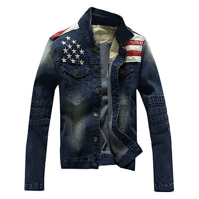 New Men's Denim Jacket Biker Bomber boys Vintage Jeans Coat Outerwear A_N164