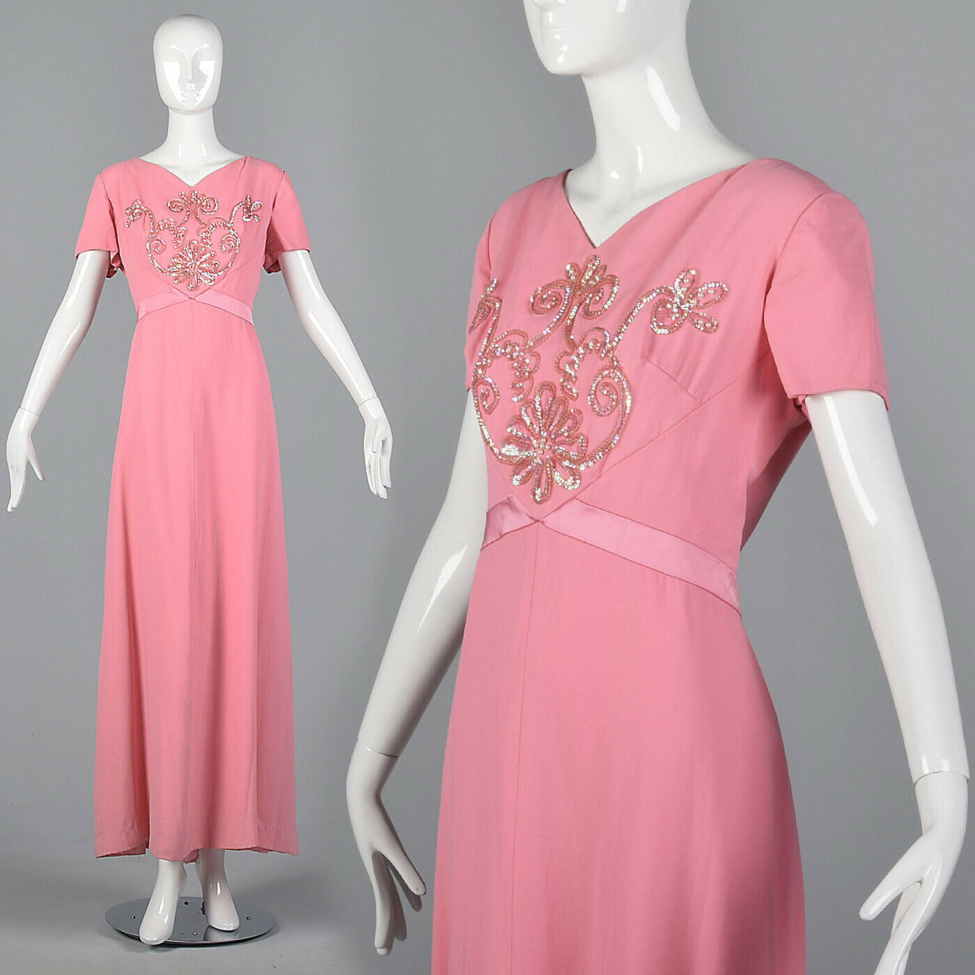 XL 1960s Emma Domb Rosa Maxi Dress Long Formal Wear Evening Beading 60s VTG