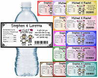 Wedding Water Bottle Labels Waterproof Glossy Personalized Any Color