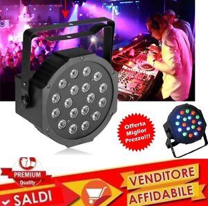 PROIETTORE-DMX-EFFETTO-LUCE-LED-FLAT-PAR-LIGHT-RGB-18-LED-MULTICOLORE-DJ-CONSOLE