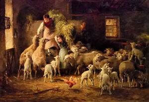Oil-painting-luigi-chialiva-feeding-time-little-girls-with-sheep-flock-canvas
