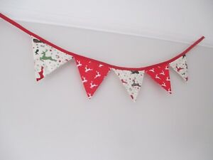 Handmade-cotton-Xmas-mini-bunting-double-sided-in-reindeer-fabric