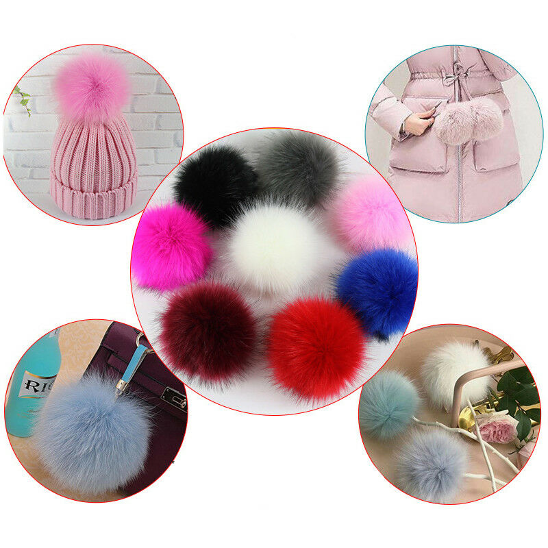 10cm 12cm Large Faux Raccoon Fur PomPom Ball Press Button for Knitting Hat Lot