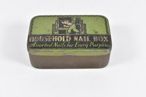 Vintage 1950's Household Nail Box Assorted Nails Every Purpose Advertising Tin