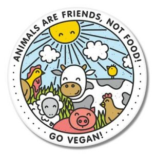 Go-Vegan-Happy-Animals-Car-Laptop-Phone-Vinyl-Sticker-SELECT-SIZE