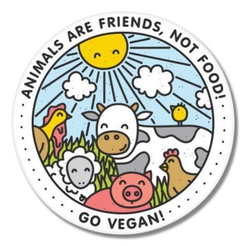 Go Vegan Happy Animals Car Laptop Phone Vinyl Sticker SELECT SIZE