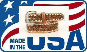 MADE-IN-USA-BUCKSTITCH-Leather-MAN-039-S-WESTERN-BELT-Silver-Buckle-NOCONA-N23008