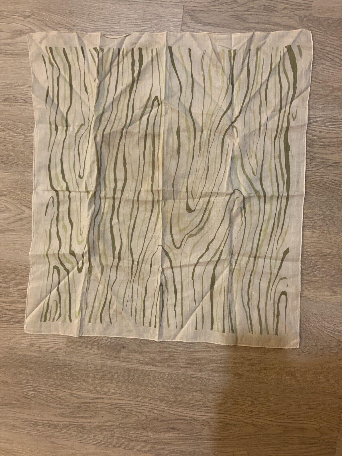 1940's Silk Scarf Greens Wood Grain Print VINTAGE - image 9