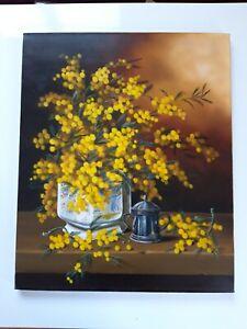 Superbe Tableau Huile sur toile signé  Les Mimosas