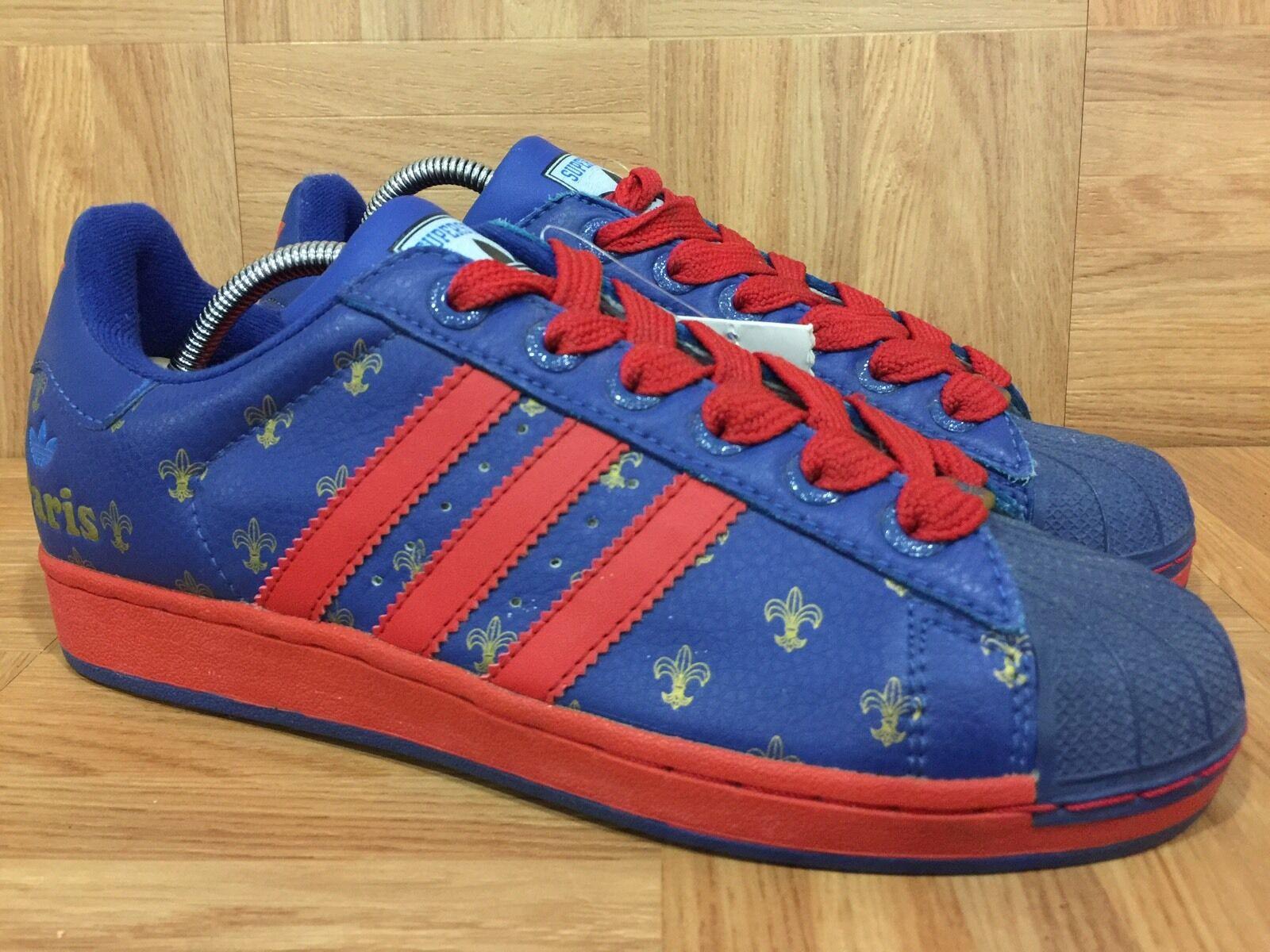 VTG� Adidas Superstar II 2 I Love ❤️ Paris City Pack France Blue Red Gold Sz 7