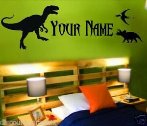 Personalized Name Decal Dinosaur Sticker Boys Wall Art T Rex Raptor Dino Boss Ebay