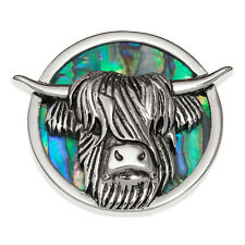 Horse Brooch Abalone Paua Shell Pony Badge Silver Fashion Jewellery 25x25mm