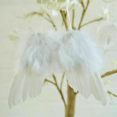 10PC Angel White Feather Wing Christmas Tree Decor Hanging Ornament Wedding Prop