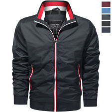 JiangWu Mens Casual Lightweight Windproof Flight Bomber Front Zipper Jacket
