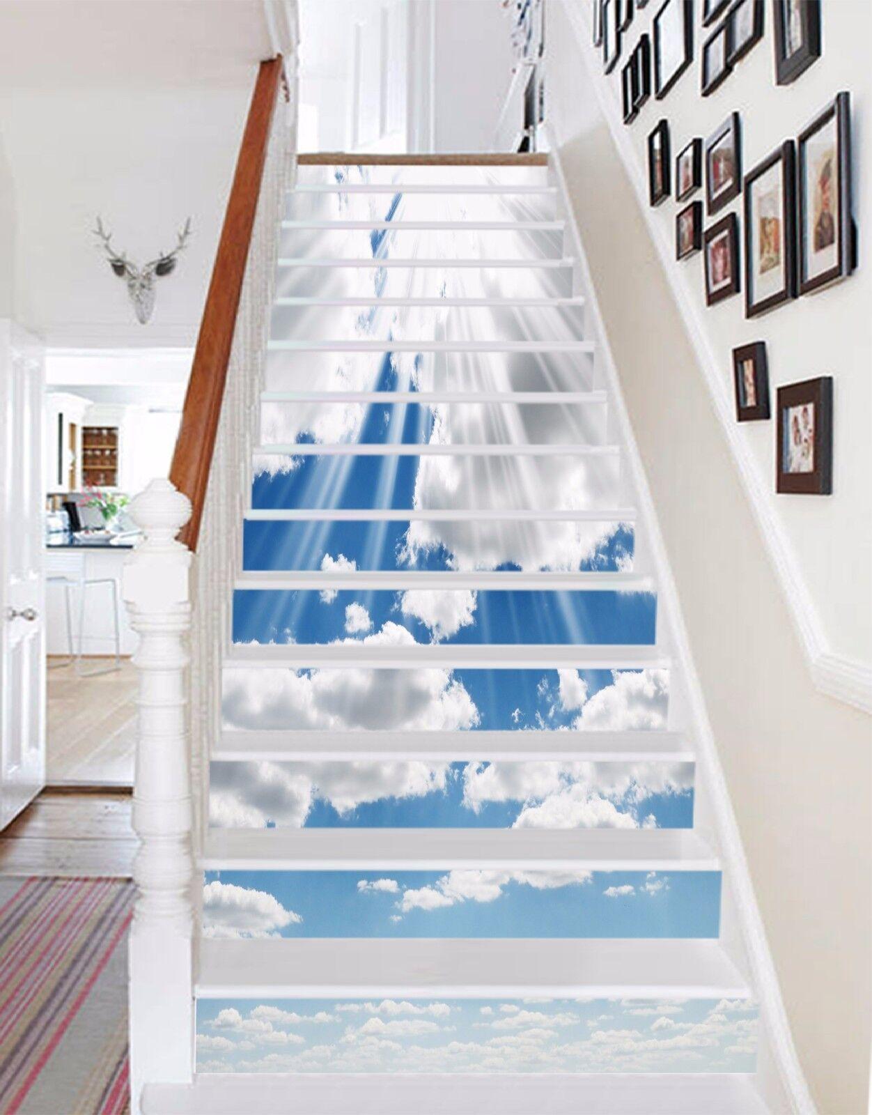 3D bianca clouds Stair Risers Decoration Photo Mural Vinyl Decal Wallpaper AU