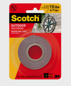 """NEW Scotch OUTDOOR Gray MOUNTING TAPE Double-Sided Holds 15 lbs 1/"""" x 60/"""" L 411P"""