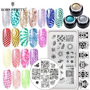 BORN-PRETTY-4Pcs-Glitter-Nail-Stamping-Gel-UV-Gel-Polish-Stamping-Plate-Set-DIY