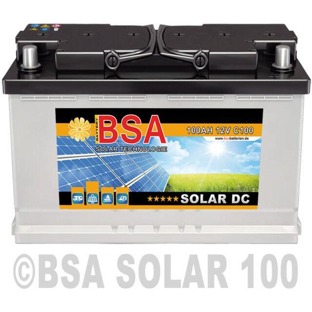 BSA Solarbatterie Wohnmobil 100Ah 12V Caravan Wohnwagen Boot Schiff Batterie
