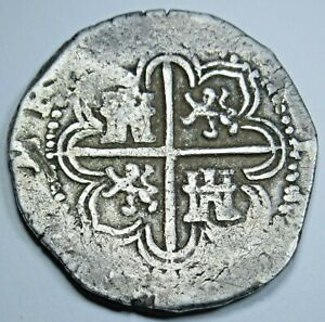 1590-039-s-Spanish-Sevilla-Silver-2-Reales-Real-Cob-Antique-Two-Bits-Colonial-Coin
