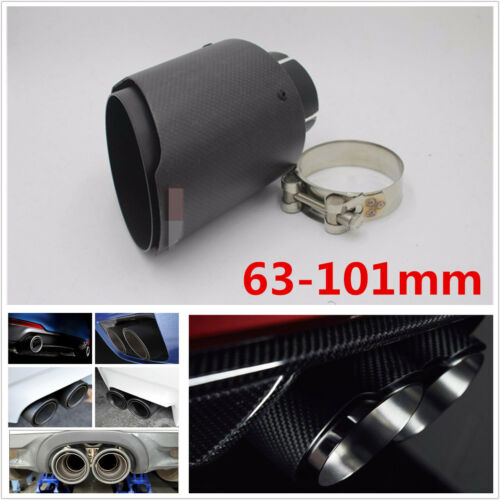 63mmIN 101mm Out Carbon Fiber+Stainless Steel Matte Car Exhaust Muffler Pipe Tip