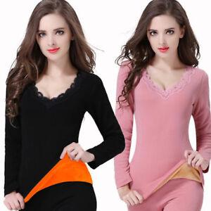 Winter-Women-V-Neck-Fur-Lined-Long-Sleeve-Velvet-Thermal-Jumper-Pullover-Tops-U8