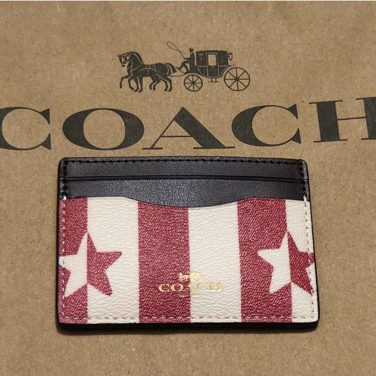 Coach Card Case Holder Wallet With Stripe Start Print in Chalk Red
