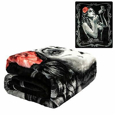 Licensed DGA Day of the Dead Rockabilly Juke Box Dance Plush Blanket Queen Size
