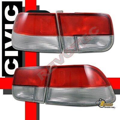96 97 98 99 00 Honda Civic 2Dr Coupe EX DX HX SI Red Clear Tail Lights 1 Pair