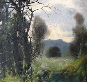 VITO-about-1910-Italia-Italian-painter-Landscape-Landschaft-mit-Pinien-IDYLLE