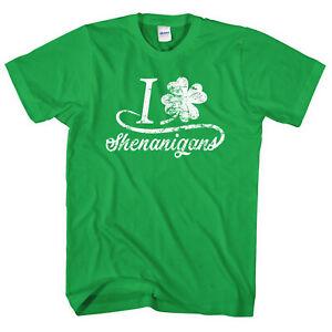 eb891cf69 I Love Shenanigans T-Shirt St Patrick's Day Top Shirt Tee Men Funny ...